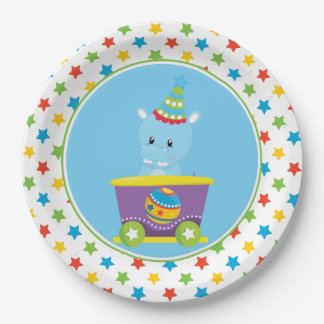Hippo   Circus Train   Circus Theme 9 Inch Paper Plate