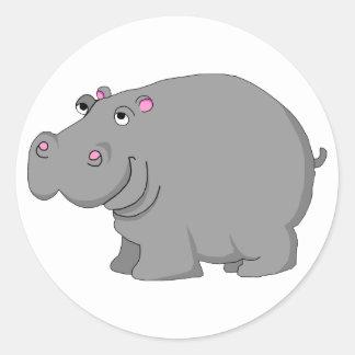 hippo classic round sticker