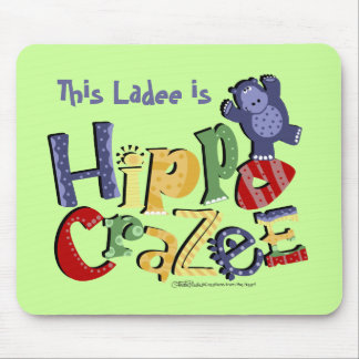 Hippo Crazee (on light colors) Mouse Mat