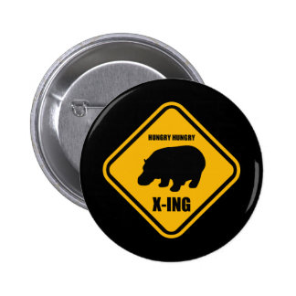 Hippo Crossing X-ing Sign 6 Cm Round Badge