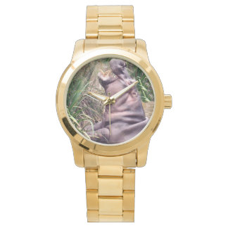 Hippo_Determination_Unisex_Large_Gold_Watch Wristwatches