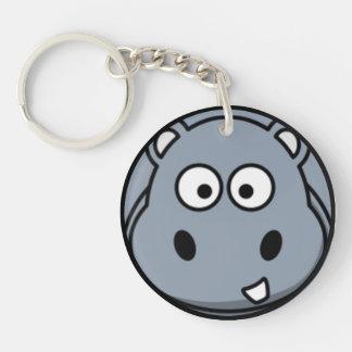 Hippo Face Single-Sided Round Acrylic Key Ring