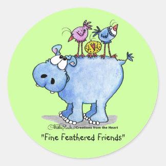Hippo- Fine Feathered Friends Classic Round Sticker