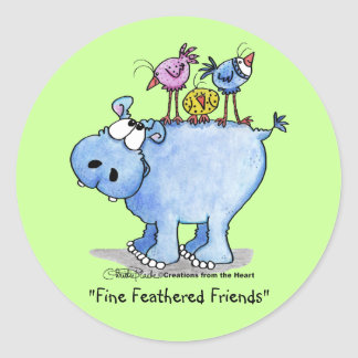 Hippo- Fine Feathered Friends Round Sticker