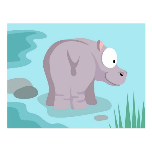 Hippo from my world animals serie postcards