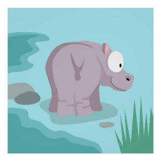 Hippo from my world animals serie poster