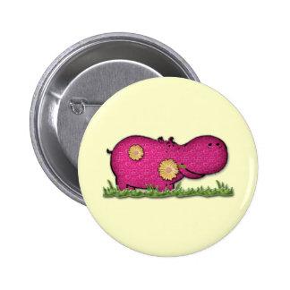 hippo fun 6 cm round badge