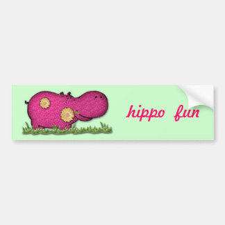 hippo fun bumper sticker