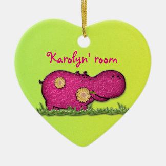 hippo fun ceramic heart decoration