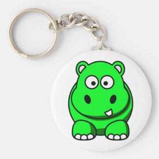 Hippo Green Basic Round Button Key Ring