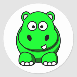 Hippo Green Classic Round Sticker