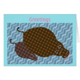 Hippo Greetings Card