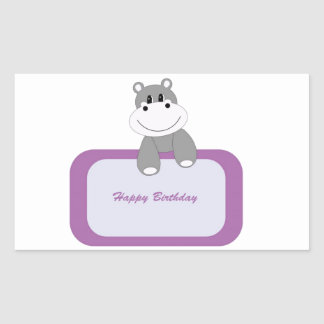 Hippo Happy Birthday Rectangular Sticker