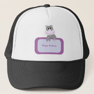 Hippo Happy Birthday Trucker Hat
