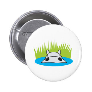 hippo hiding in water 6 cm round badge