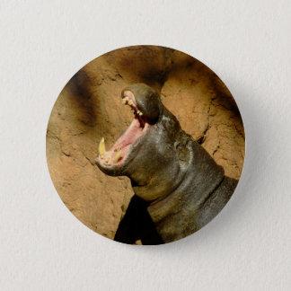 hippo hungry 6 cm round badge