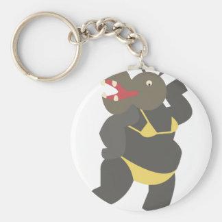 Hippo In Bikini Basic Round Button Key Ring