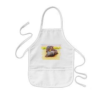 Hippo in the sun kids apron