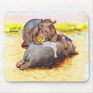 Hippo in the sun mouse mat