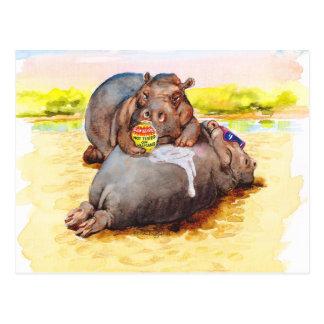 Hippo in the sun postcard