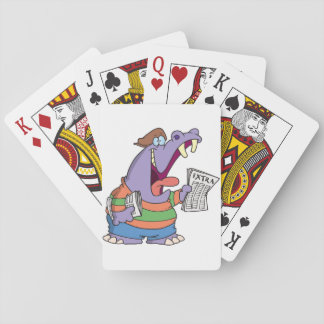 Hippo Newspaper Boy Playing Cards