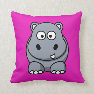 Hippo on a Bright Pink Background Cushions
