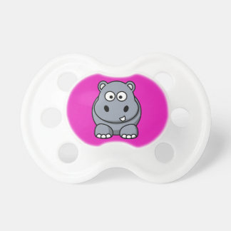 Hippo on a Pink Background Pacifiers