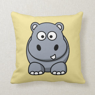 Hippo on a Yellow Background Cushion