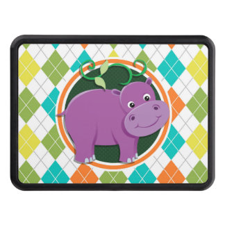 Hippo on Colorful Argyle Pattern