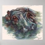Hippo Painting Hippopotamus Portrait Print