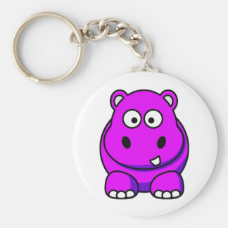 Hippo Pink Basic Round Button Key Ring
