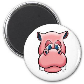 Hippo (pink) 6 cm round magnet