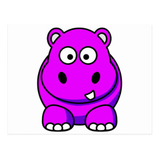 Hippo Pink Postcard