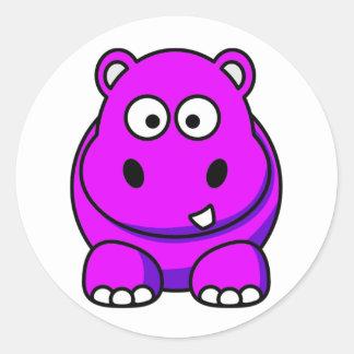 Hippo Pink Round Sticker
