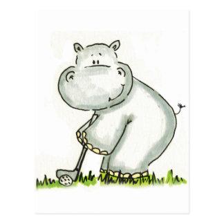 Hippo plays Golf Postcard
