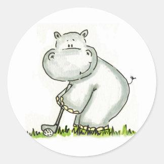 Hippo plays Golf Round Stickers