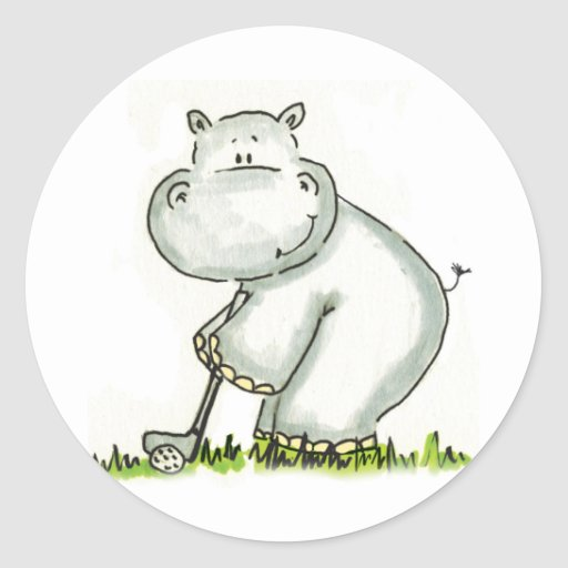 Hippo plays Golf Round Stickers