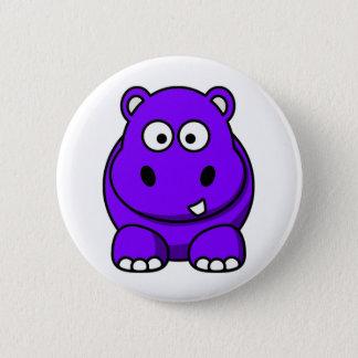Hippo Purple 6 Cm Round Badge
