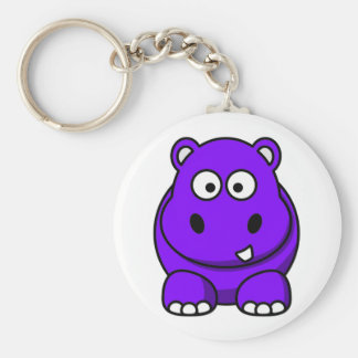 Hippo Purple Basic Round Button Key Ring