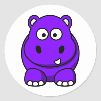 Hippo Purple Classic Round Sticker