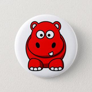 Hippo Red 6 Cm Round Badge