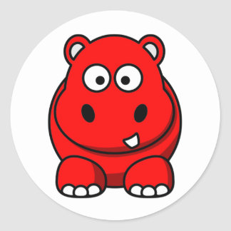 Hippo Red Classic Round Sticker