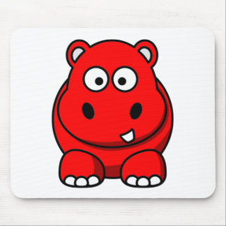 Hippo Red Mouse Mat