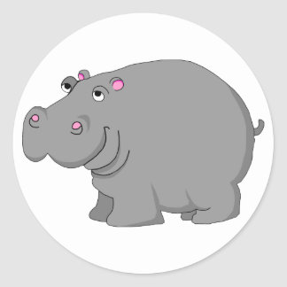 hippo round sticker