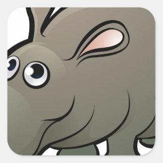 Hippo Safari Animals Cartoon Character Square Sticker