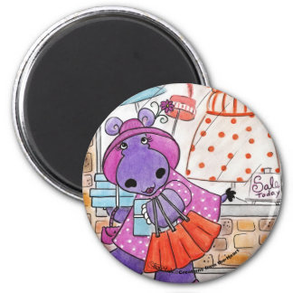 Hippo Shopping-Hippo shop-a-lot amus! Magnet