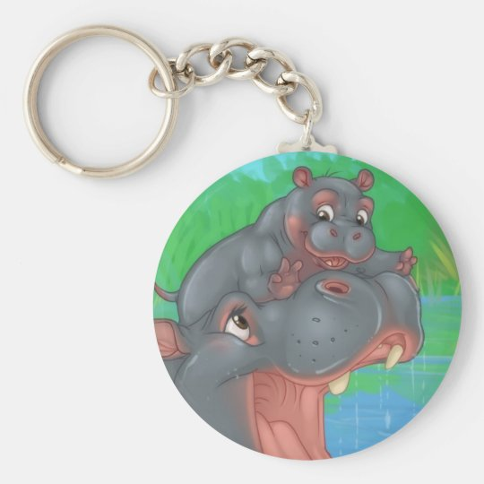Hippo Splash Keyring Basic Round Button Key Ring