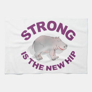 Hippo, strong is the new hip tea towel