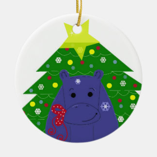 Hippo with a Christmas Tree Round Ceramic Decoration