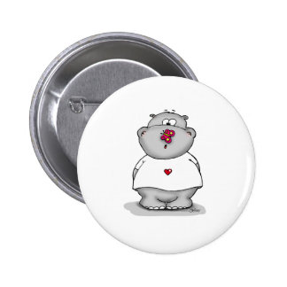 Hippo with Butterfly on his Nose 6 Cm Round Badge